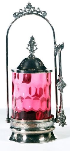 Pickle Castor; Cranberry Glass, Thumbprint?, Tongs, Silverplated Holder, 11 inch.