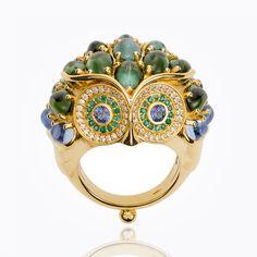 18K Athena Owl Ring with blue green tourmaline, Royal Blue Moonstone, emerald, blue sapphire and diamond