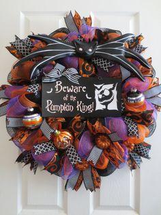 "New Large Halloween Nightmare Before Christmas Themed Black Orange Mesh Ribbons Jack Skellington BEWARE Pumpkin King Wreath Door Decor 26"""