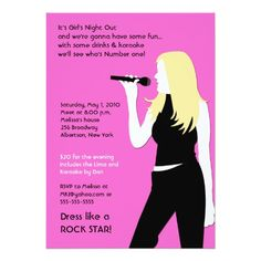 KARAOKE Singing Party Girls Night Out Birthday 5x7 Paper Invitation Card