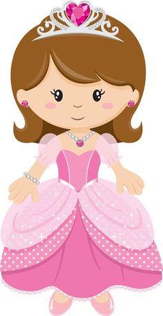 Cute Clipart ❤ Princess with Pink Dress Princess Cookies, Princess Tiara, Baby Princess, Princess Party, Disney Princess, Princess Cartoon, Girl Clipart, Cute Clipart, Disney Clipart