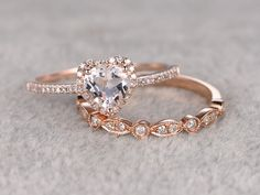2pcs Morganite Bridal Ring Set,Engagement ring Rose gold,Diamond wedding band,14k,6mm Heart Shaped,Gemstone Promise Ring,Art Deco Eternity by popRing on Etsy