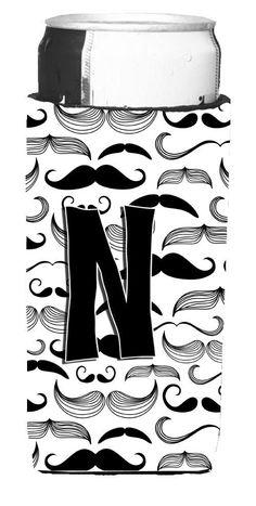 Letter N Moustache Initial Ultra Beverage Insulators for slim cans CJ2009-NMUK