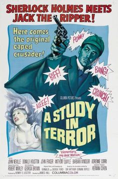 "Poster for the Sherlock Holmes film ""A Study in Terror"" with campy Batman-style graphics. Horror Movie Posters, Cinema Posters, Horror Films, Sherlock Holmes, Terror Movies, Cult Movies, Top Movies, Action Movies, Barbara Windsor"