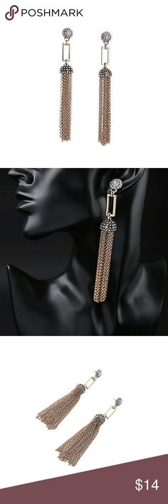 """Crystal Metal Tassel Chandelier Earrings Collection Name: """"Faye"""" Part of the Mixed Metal Collection Metal: Yellow Gold Plated Copper Brass and Bronze Plated Base Metal: Antique Gold Plated Earrings Length: 3 inches Mainstone: Crystal Stone Setting: Pave Bezel Chanel Stone Setting Design: Vintage Nouveau Art Deco Jewelry Option: Matching Necklace Sold Separately J&K Bijou Jewelry Earrings"""