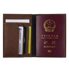 Hot Sale Genuine Leather Men Passport Cover Solid Credit Id Card Holders Handmade Passports Holder Case Travel Wallet Cards