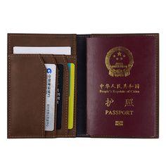 Venda quente Genuínos Homens de Couro Capa de Passaporte Titulares de Cartão de Id de Crédito Sólido Handmade Cartões de Titular Caso Passaporte Carteira de Viagem