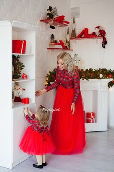 Matching red plaid dress - Mommy and Me Dress - Mommy and Me Outfit - Mother Daughter Matching Dress - Matching Dress Christmas Plaid Dress Mommy Daughter Dresses, Mother Daughter Fashion, Mother Daughter Dresses Matching, Mommy And Me Dresses, Mommy And Me Outfits, The Dress, Baby Dress, Dress Girl, Dress Red