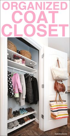 Organized coat closet makeover shelving for shoes and hooks for purses and bags. Coat Closet Organization, Entryway Organization, Closet Storage, Organization Hacks, Organize Coat Closet, Wardrobe Storage, Portable Wardrobe, Pax Wardrobe, Bag Storage