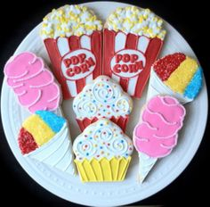 Items similar to Circus Party Themed Decorated Sugar Cookies- popcorn, cotton candy, sno cone, and cupcakes on Etsy Circus Carnival Party, Circus Theme Party, Carnival Birthday Parties, Carnival Themes, Circus Birthday, 5th Birthday, Circus Theme Cupcakes, Circus Food, Carnival Cupcakes