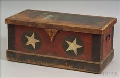 Pine Paint-decorated Militia Box, New England, c. 1850