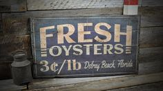 Custom Fresh Oysters Destination Sign - Rustic Hand Made Vintage Wooden Sign ENS1000439 by TheLiztonSignShop on Etsy https://www.etsy.com/listing/193318465/custom-fresh-oysters-destination-sign