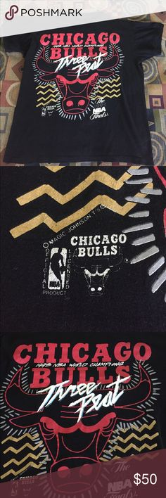 Vintage Chicago Bulls Tee Very Rare Vintage Chicago Bulls 1 of a kind 1993 championship Tee. It is made by Magic Johnson Tees. Shirt is in great Condition. No tag but shirt fits like a Medium. Open to Offers. Shirts