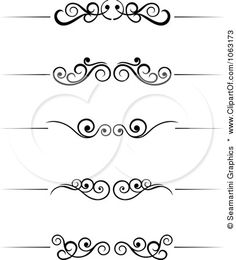 Clipart Black And White Flourish Borders Digital Collage 6 - Royalty Free Vector Illustration by Seamartini Graphics