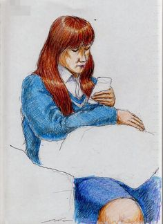 This is a sketch of the lady who put on the blue sweater I drew in the train.