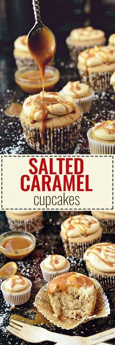 These CARAMEL CUPCAKES are topped with salted dulce de leche caramel frosting! One seriously sensational cupcake, similar to Sprinkles SALTED CARAMEL CUPCAKE. recipe at TidyMom.net