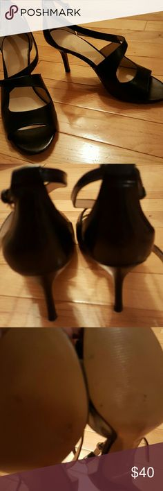 "Sandals 3"" leather sandals,  very comfy, worn once indoors, nib Nine West Shoes Sandals"