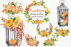 Watercolor pumpkin clipart by LeCoqDesign on @creativemarket