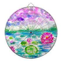 Lotus Pond Watercolor Dartboard With Darts