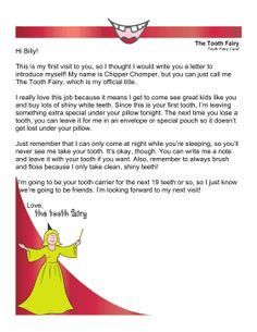 This free, printable letter is for a child's first lost tooth wherein the tooth fairy introduces herself and reminds the kid to brush and floss often. Free to download and print