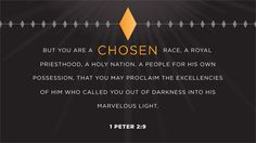 But you are a chosen race, a royal priesthood, a holy nation, a people for his own possession, that you may proclaim the excellencies of him who called you out of darkness into his marvelous light. —1 Peter 2:9