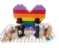 Gay Wedding Cake Topper Lego Groom And Groom Minifigures Gay Pride Rainbow Heart Flowers Rings Goblets Customise
