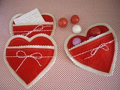 homemade valentines out of woolfelt with front pocket for love notes and candy