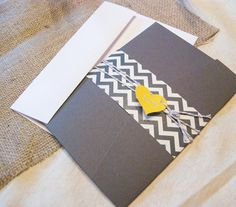 chevron wedding invitation yellow wedding by parcelpostwedding, $30.00