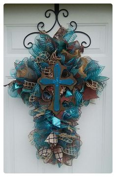 Image result for Cross Mesh Wreath Ideas