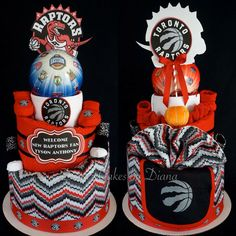 Toronto Raptors Inspired Basketball Cake Made for Parents Who Are Huge Raptors Fans. www.facebook.com/DiaperCakesbyDiana Sports Theme Birthday, Basketball Birthday Parties, Boy Birthday, Birthday Ideas, Diaper Cake Boy, Diaper Cakes, Toronto Raptors, Cakes For Boys, Baby Shower Themes