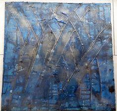 Acrylbild Leinwand 50 x 50 x 17 dunkelblau schwarz von BeGehrLich