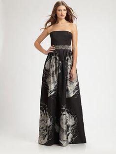 Carmen Marc Valvo - Strapless Jacquard Gown - Saks.com
