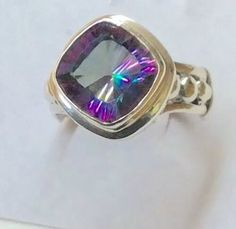 Sterling Silver Square Shaped Faceted Mystic Topaz Ring. Size 7