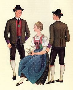 FolkCostume&Embroidery: Costumes of Tyrol Austria, Alps, Traditional Outfits, Snow White, Disney Characters, Fictional Characters, Germany, Vintage Fashion, Costumes