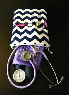 chevron NURSE PURSE stethoscope bag and BP case - shown in navy & white w/ lime green (medical pouch, pockets for penlight and tools). $47.00, via Etsy.
