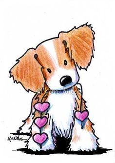 Art: Brittany Spaniel Heart Strings by Artist KiniArt  Love!