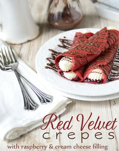 Red Velvet Crepes with Raspberry & Sweet Cream Cheese Filling perfect for #Valentines Day via @TidyMom
