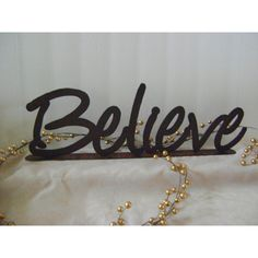 Believe, word art, wall art, Metal words, Phrases, Inspirational Words (145 ILS) ❤ liked on Polyvore featuring home, home decor, wall art, inspirational wall hanging, wall hanging, metal wall art and metal home decor