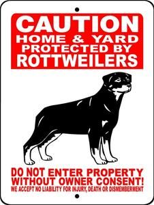 Rottweiler Aluminum Dog Sign H2496hyrwrb
