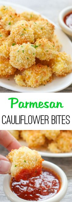 Parmesan Cauliflower Bites. Crunchy panko and parmesan cheese crusted cauliflower bites.
