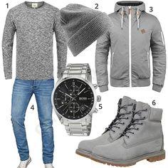 Grauer Herren-Style mit Stiefel, Mütze und Jacke (m0931) #grau #timberland #stiefel #hugoboss #outfit #style #herrenmode #männermode #fashion #menswear #herren #männer #mode #menstyle #mensfashion #menswear #inspiration #cloth #ootd #herrenoutfit #männeroutfit