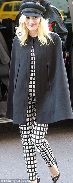 Oct 2012    Staying warm:Gwen Stefani  rocked the monochrome trend with her black and white checkered suit