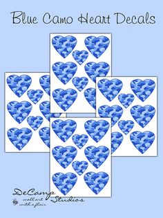 Blue Camo Heart wall decals for baby girl camouflage nursery or children's bedroom decor #decamstudios