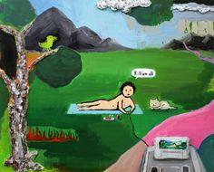 Zen Tainaka, The Joy of Living, acrylic, clay on canvas, wooden panel,  2014