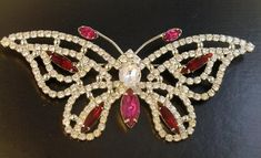 Enormous Signed Eisenberg Ice Butterfly Brooch #vintage #rhinestone #Eisenberg #fashion #style #brooch