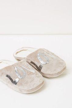 Pantofole tinta unita con stampa, Grigio chiaro