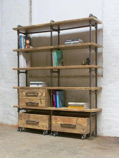 Ana-Maria Clear Varnished Reclaimed Scaffolding Board and Dark Steel Pipe Bookcase with Integrated Drawer Units and Roll out Storage Boxes - Its industrial design works perfectly in an urban… Industrial Bedroom, Industrial Living, Industrial Furniture, Rustic Furniture, Industrial Design, Industrial Bookshelf, Industrial Lamps, Luxury Furniture, Scaffold Shelving