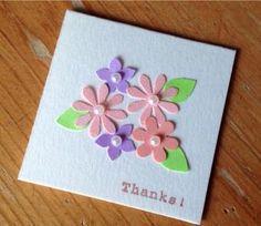 201.カーラクラフトのお花のパンチで5cm×5cm大のミニカード | 簡単手作りカード Chocolate Card Factory Diy And Crafts, Paper Crafts, Quilled Creations, Mothers Day Cards, Punch Art, Handmade Decorations, Flower Cards, Scrapbook Cards, Origami