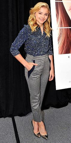 The young actress proves yet again that she's fashionably wise beyond her (17!) years in a blouse, pointy-toe heels and tailored pants for an If I Stay book signing in San Mateo, C.A.