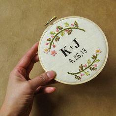 Custom wedding embroidery hoop wall art  spring flowers by oktak, $110.00